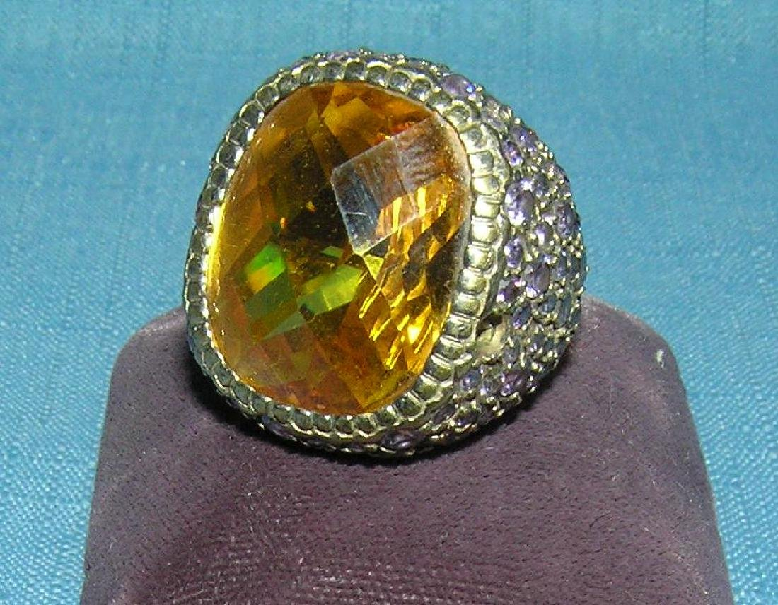 Large ring with citrine center stone & small amethyst