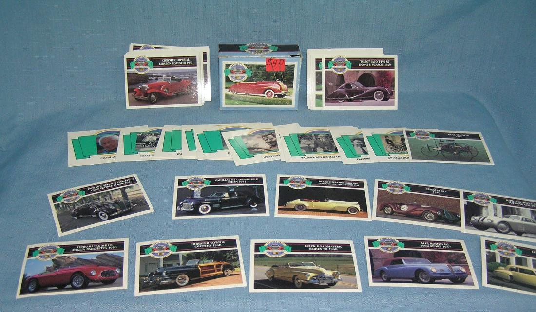 Antique cars collector's card set with original box