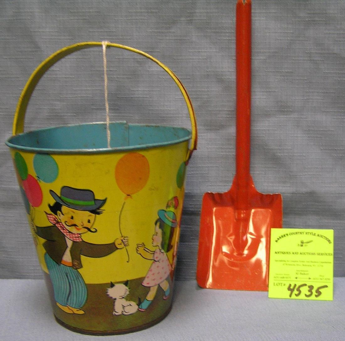 Vintage all tin child's sand pail and shovel set