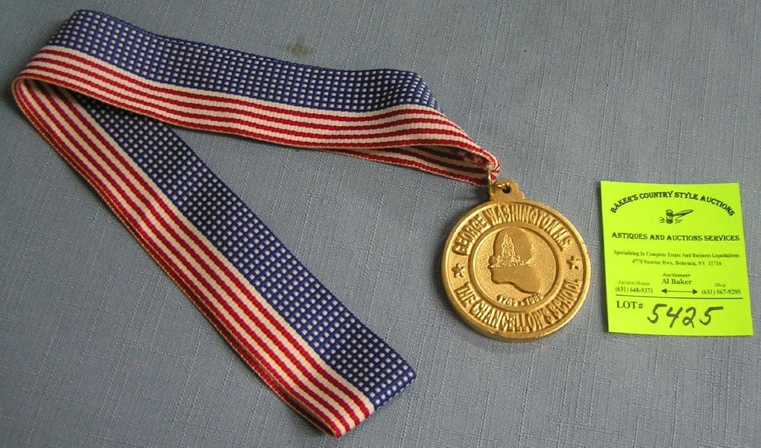 George Washington HS gold award medal & ribbon