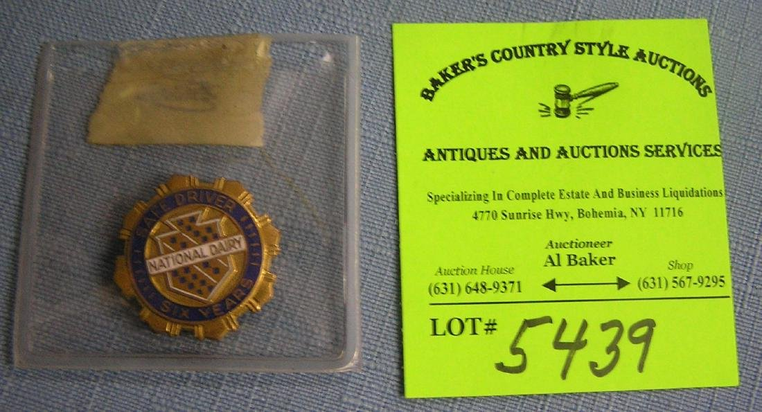 Early National Dairy 6 yr safe driver award pin