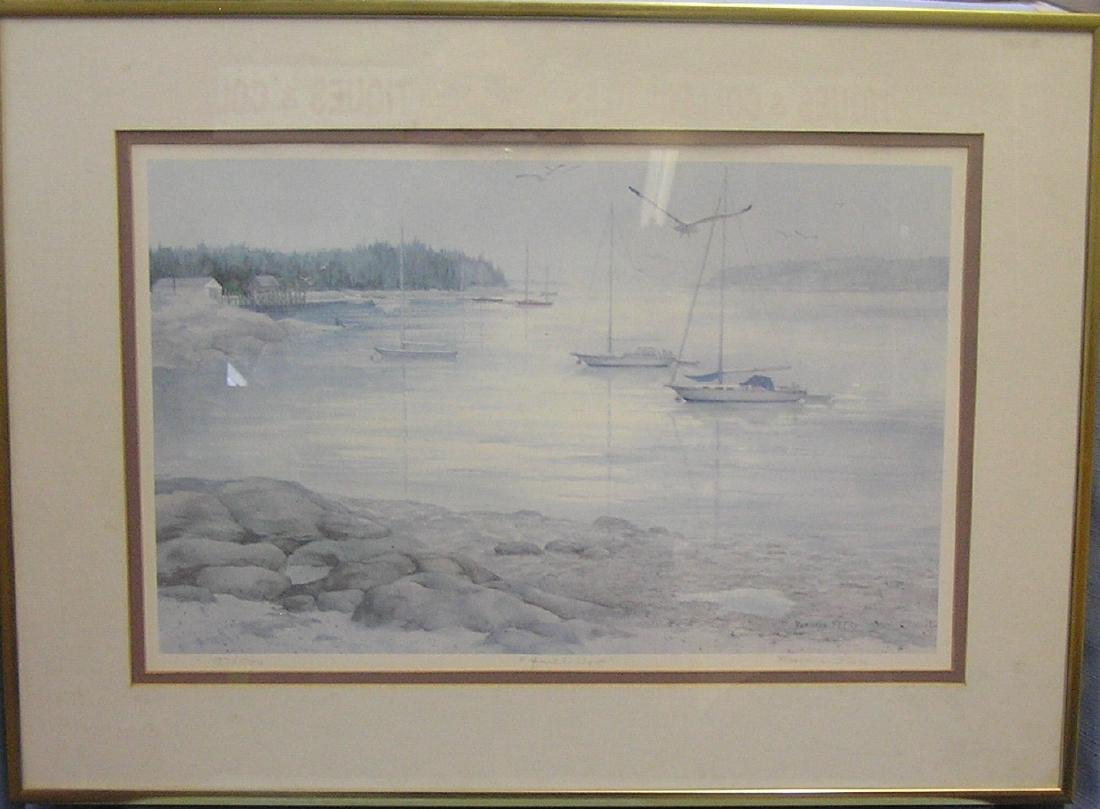 """Signed and numbered lithograph """"Quiet Cove"""""""