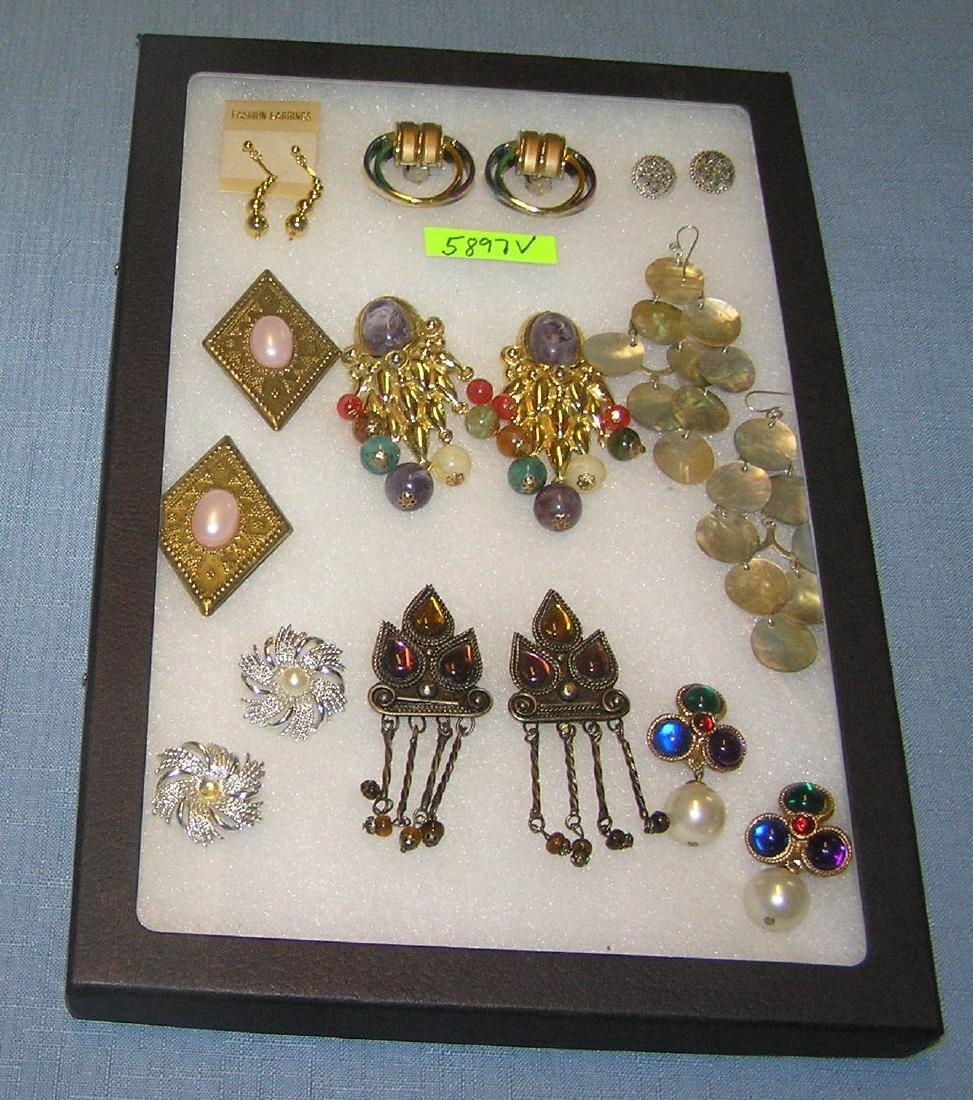 Group of vintage costume jewelry earrings