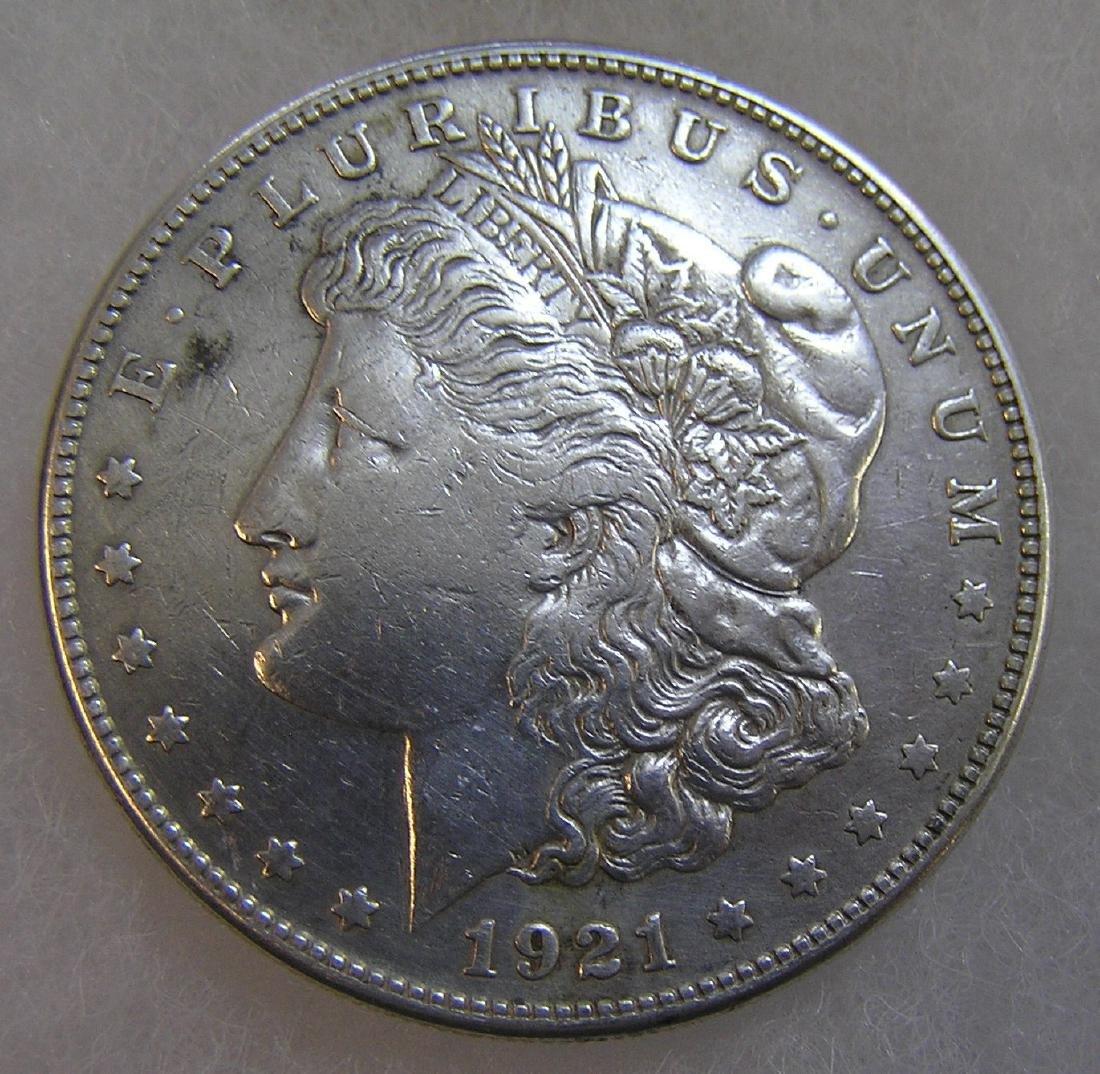 1921S Morgan silver dollar in fine condition