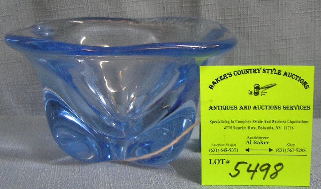 High quality blue art glass bowl
