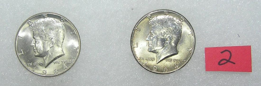 Pair of 1964P Kennedy silver half dollar coins