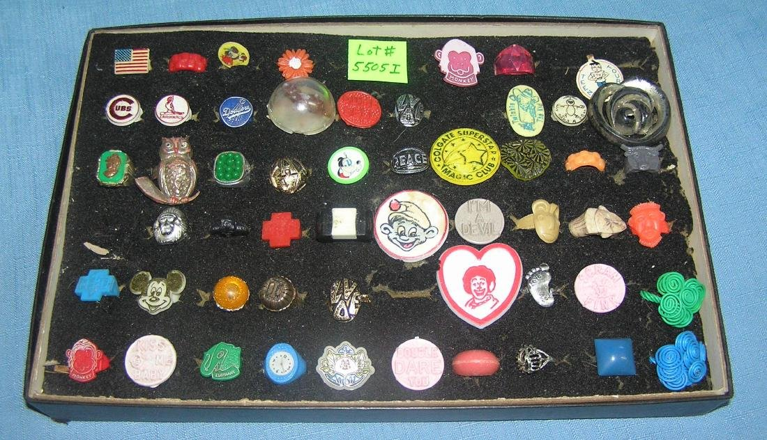 Great vintage collection of gumball rings and prizes