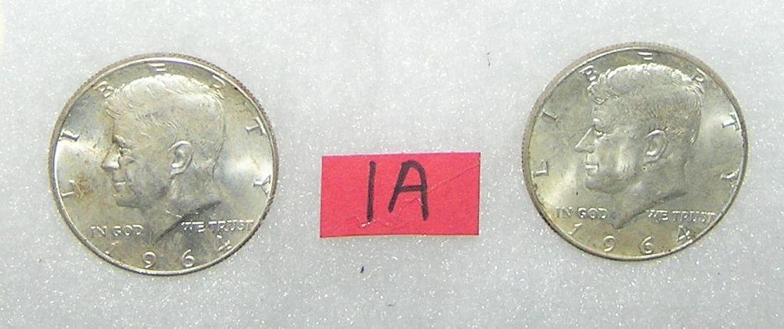 Pair of Kennedy silver half dollar coins 1964