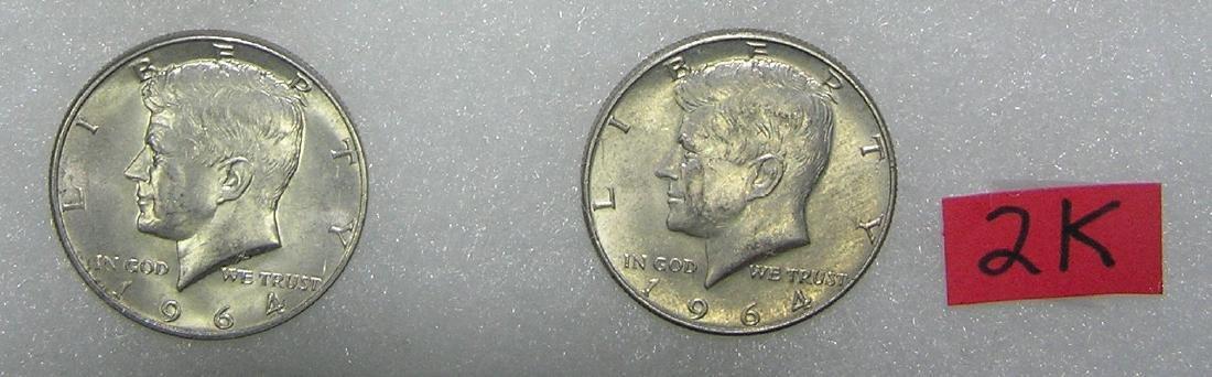 Pair of 1964D Kennedy silver half dollar coins