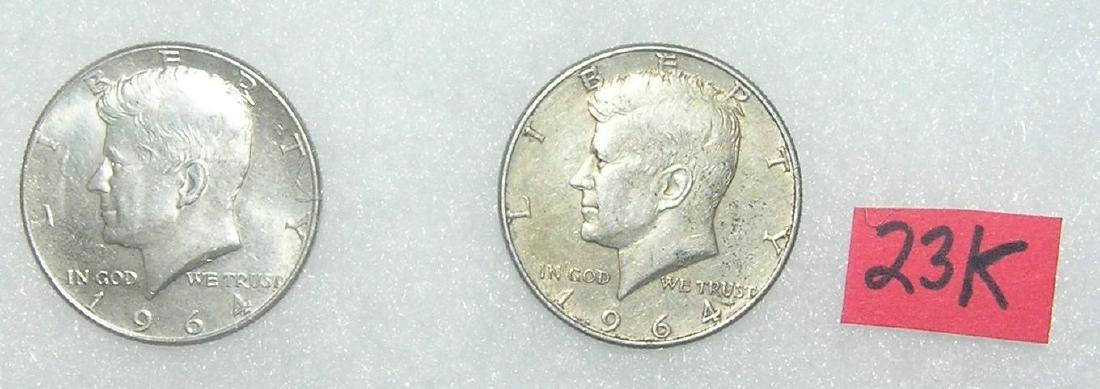 Pair of Kennedy silver half dollar coins