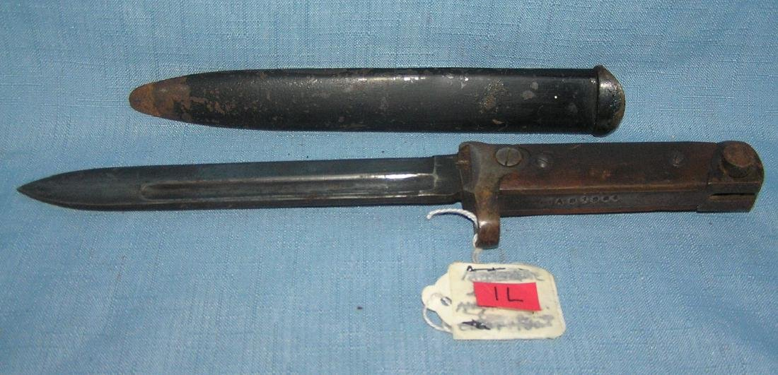 WWII fighting bayonet with scabbard