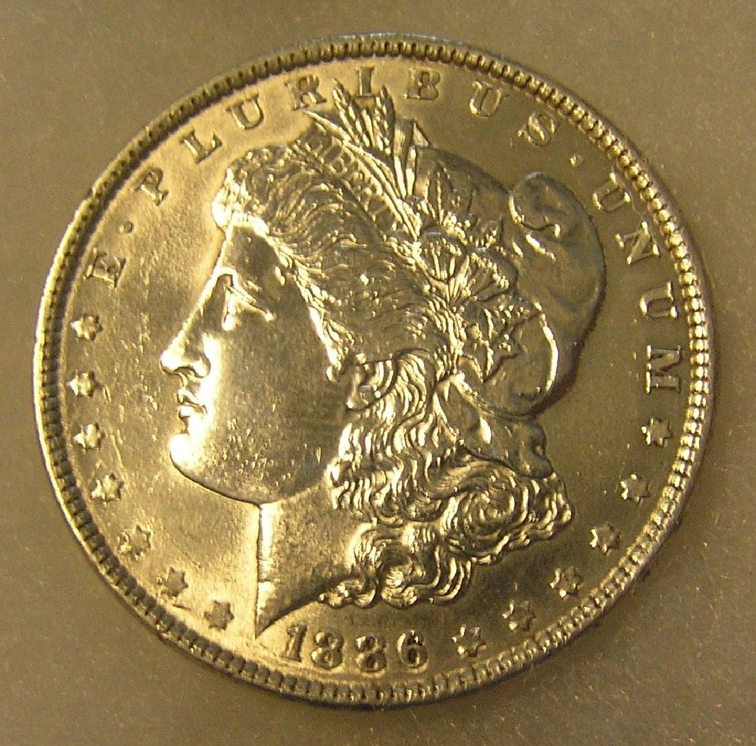 1886 Morgan silver dollar in very fine condition