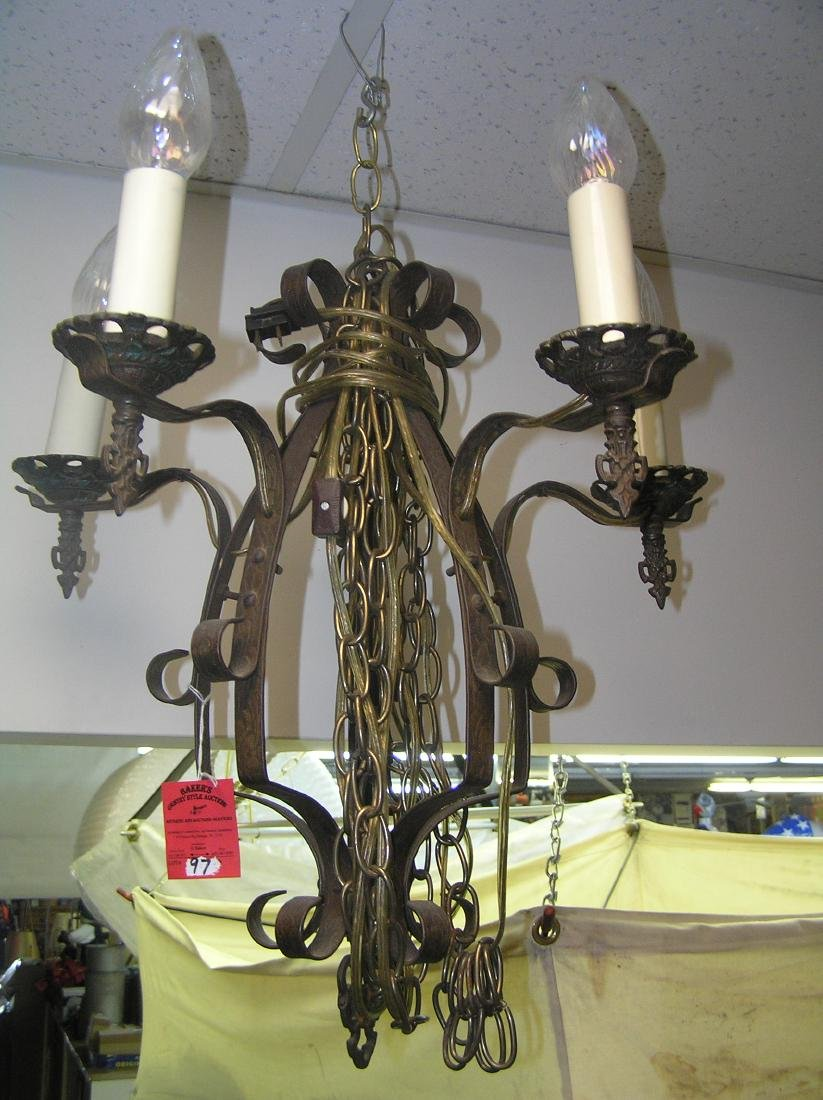 Antique brass and wrought iron chandelier
