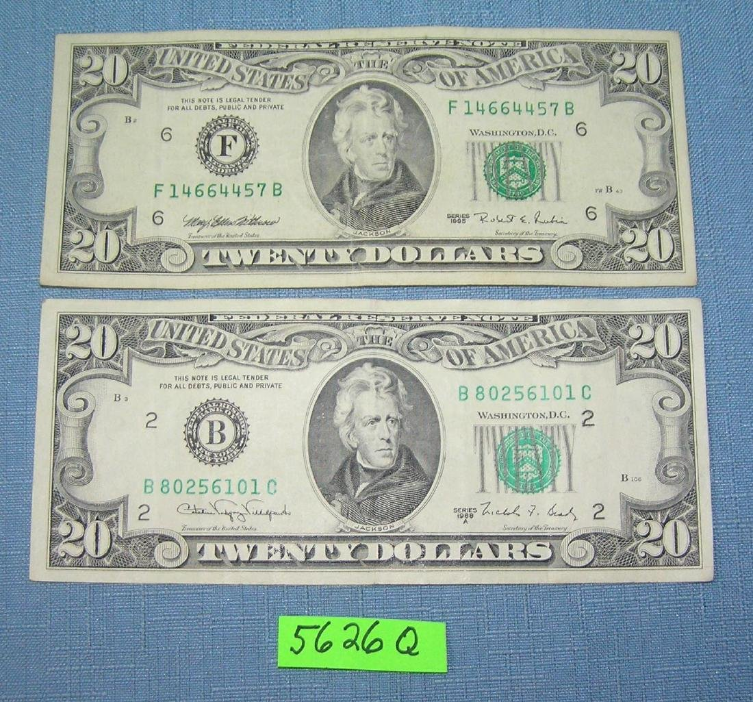 Vintage old style small portrait US $20 bills