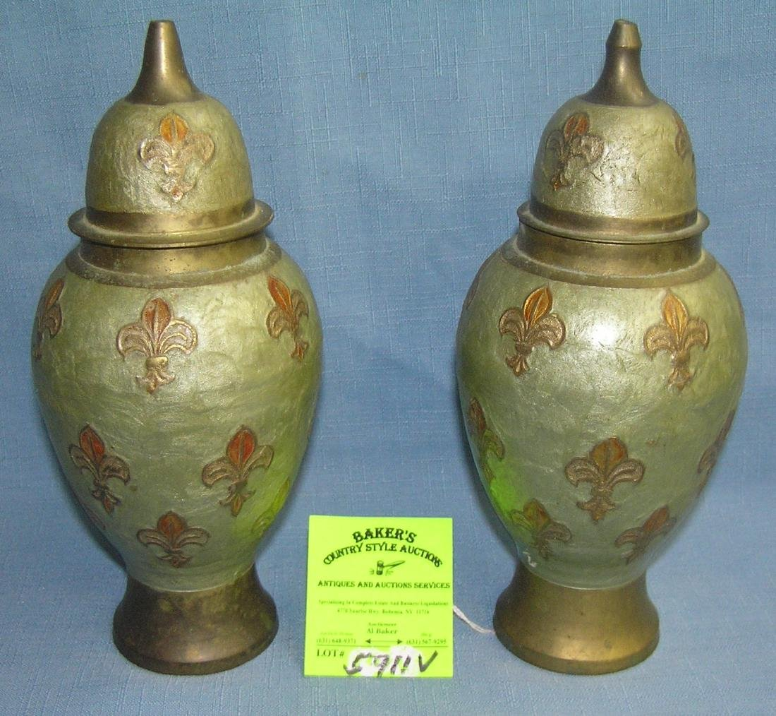 Pair of paint decorated brass vases