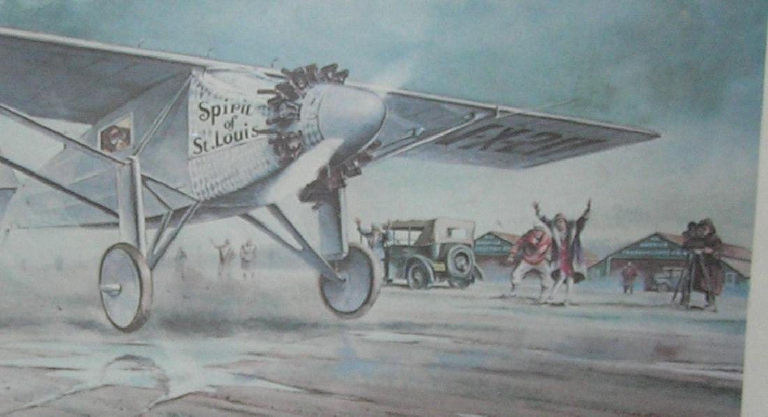 Lindbergh Spirit of St louis framed print & 1st day - 2