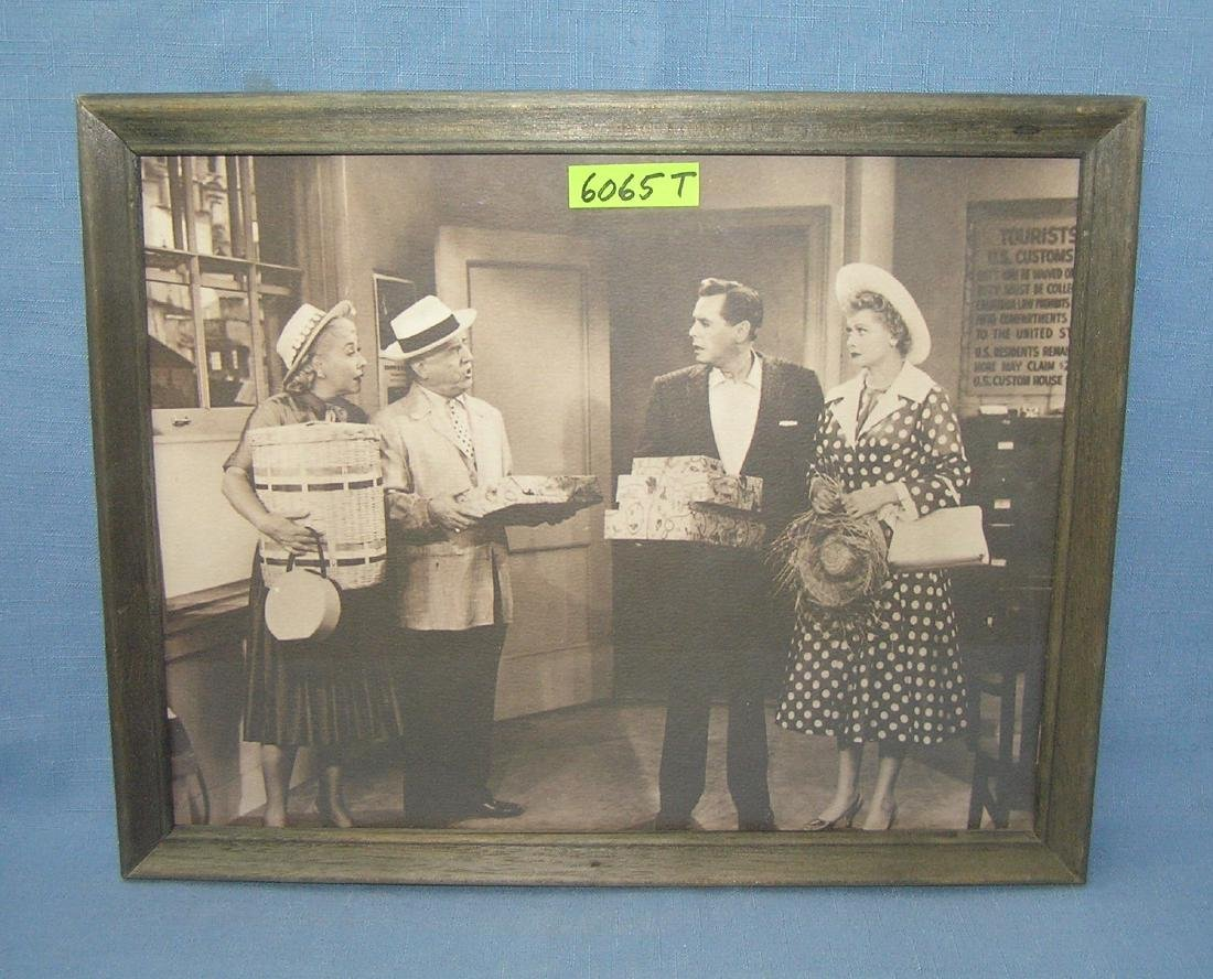 Vintage I Love Lucy set photo print  with wood frame