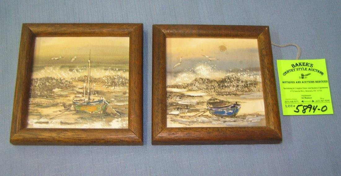 Pair of nautical themed miniature paintings