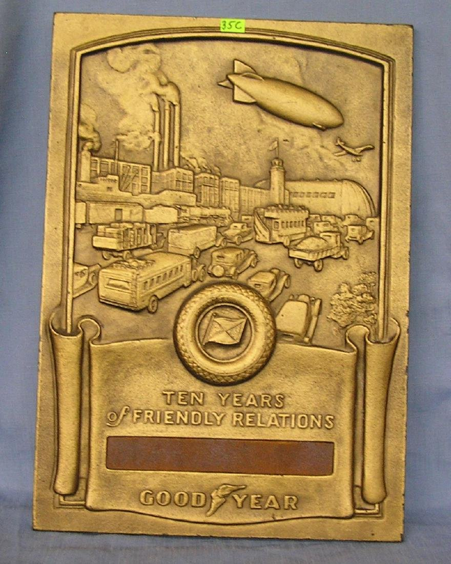 Good Year dealership advertising award plaque