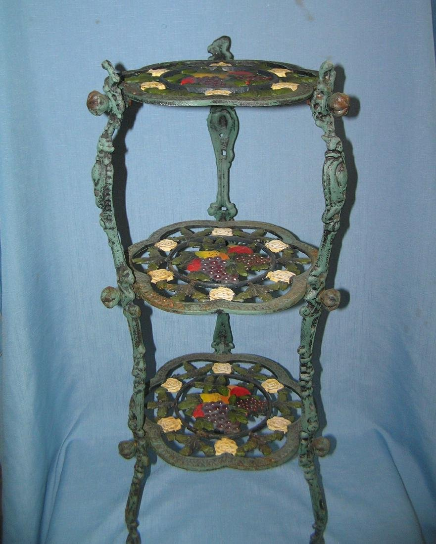 Hand painted floral and grape decorated plant stand
