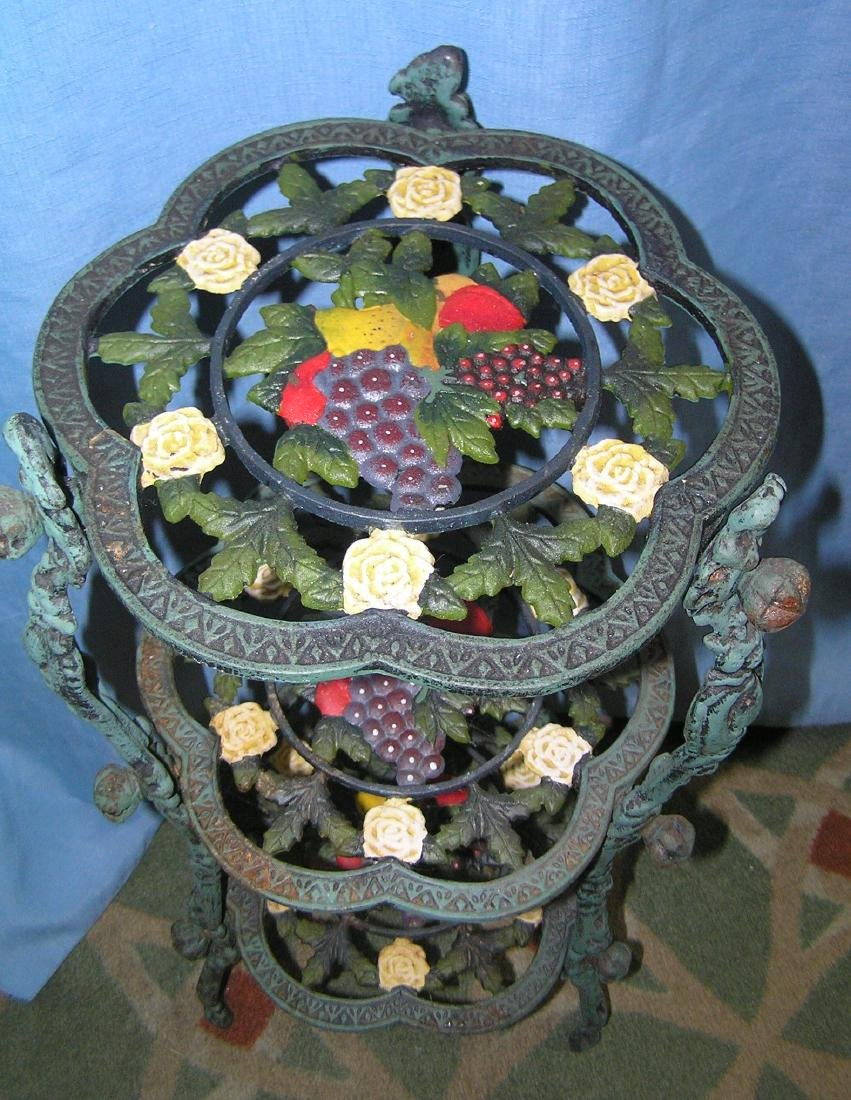 Hand painted floral and grape decorated plant stand - 2