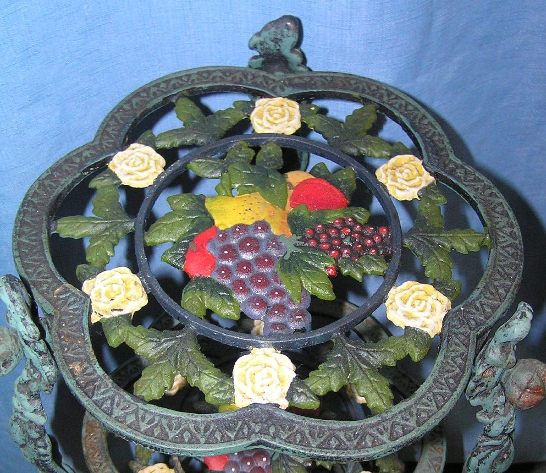 Hand painted floral and grape decorated plant stand - 3