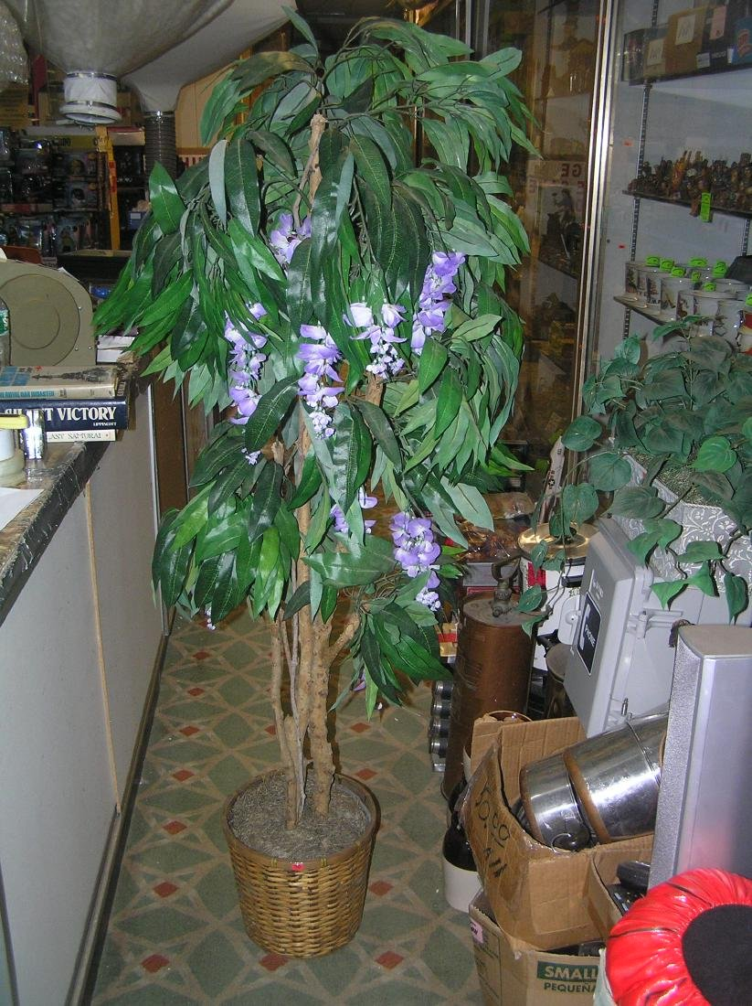 5 foot artificial floral tree in wicker pot