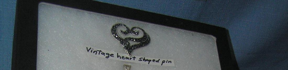 Heart shaped pin with semi precious stones