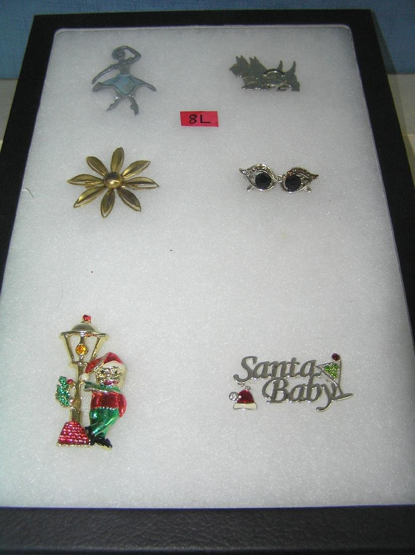 Collection of vintage costume jewelry pins