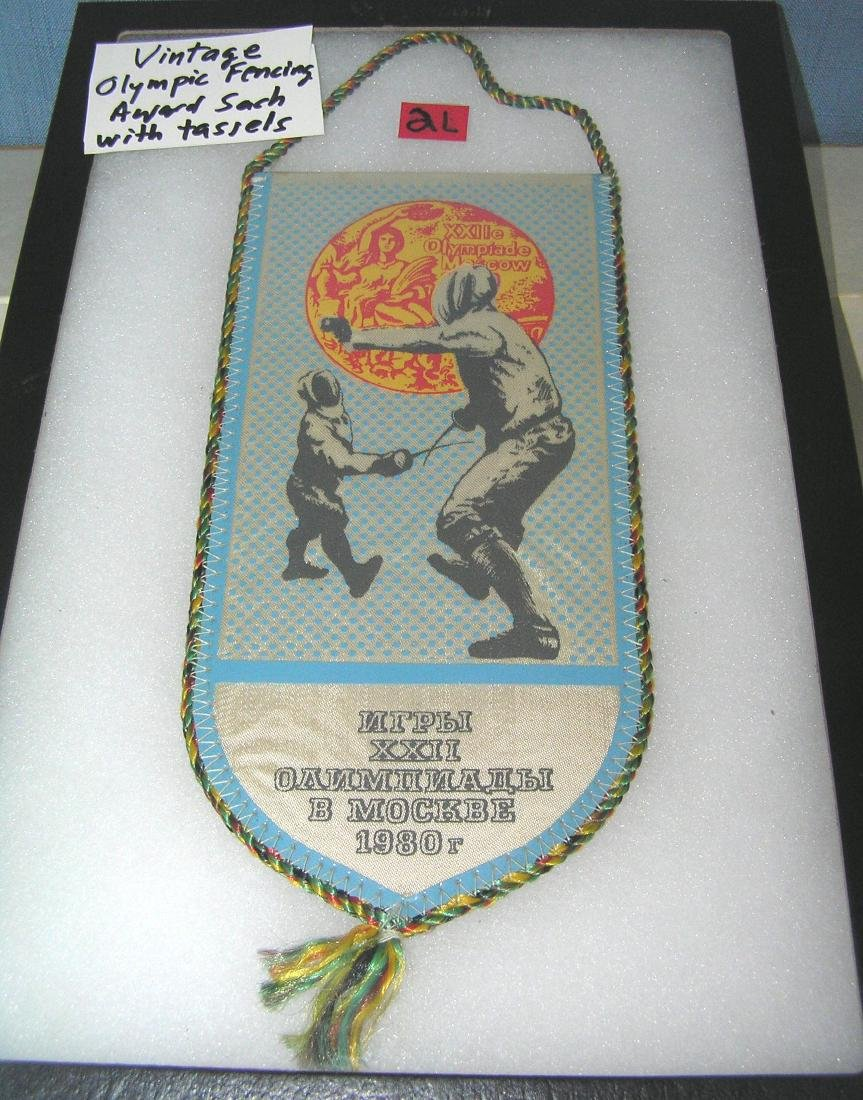 Vintage Olympic award sash with medals