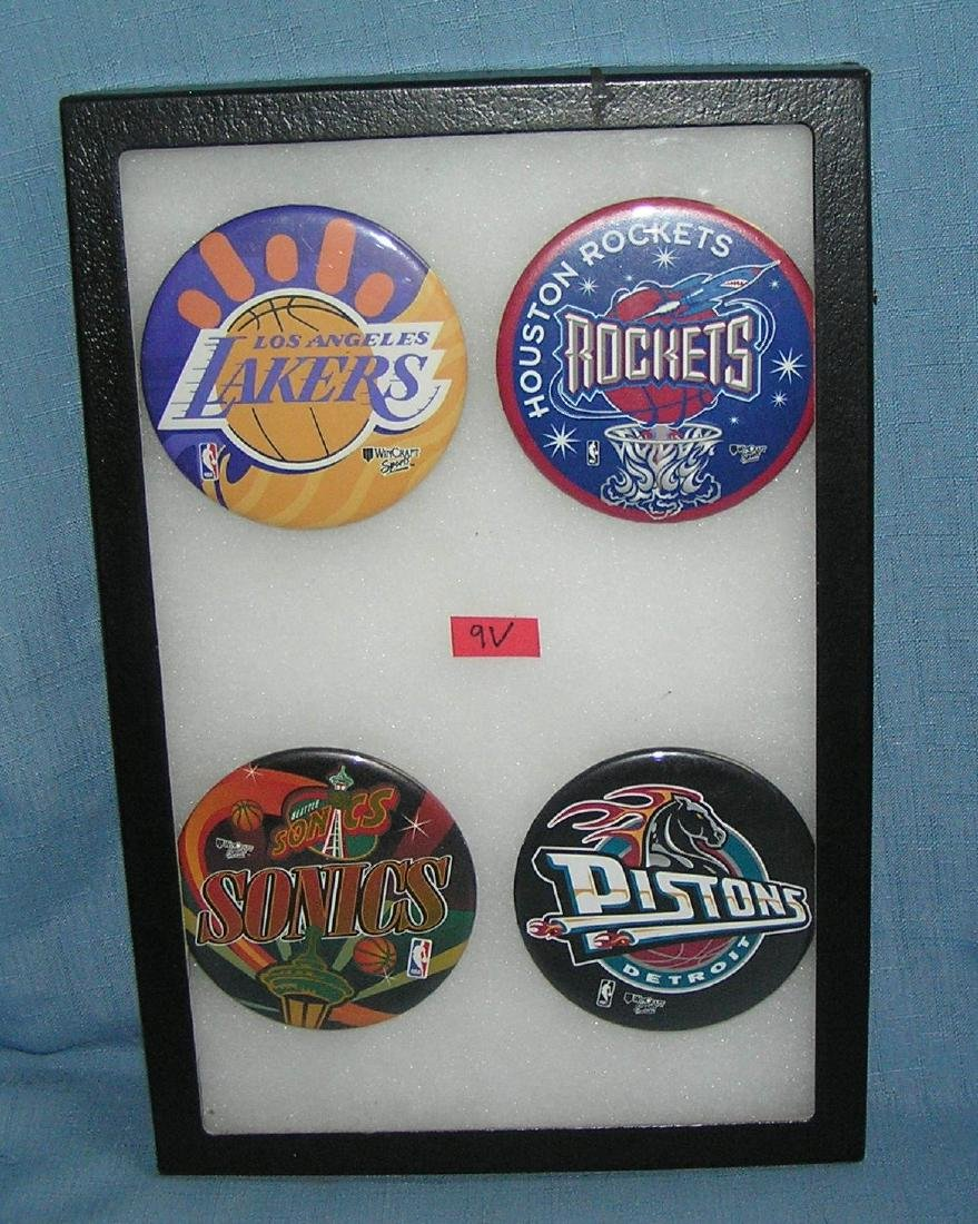 Group of vintage NBA basketball pin back buttons