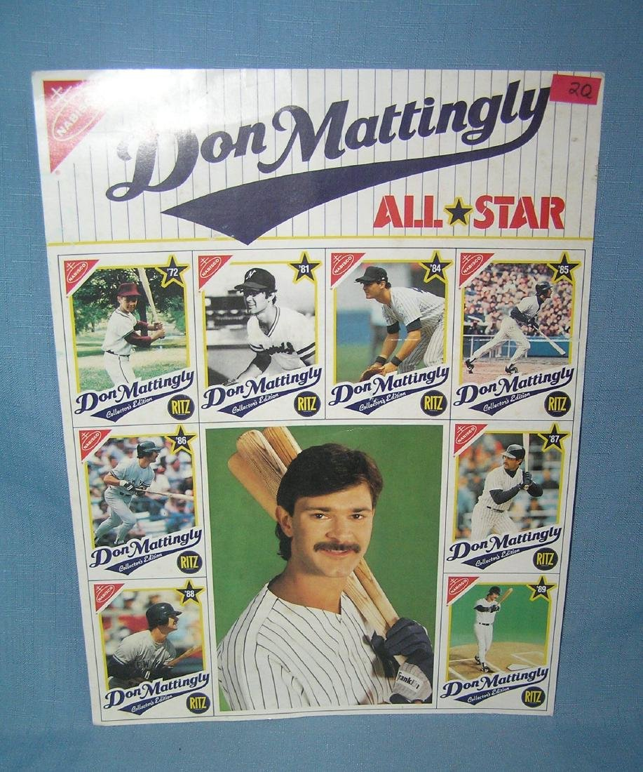 Don Mattingly uncut baseball card and photo sheet