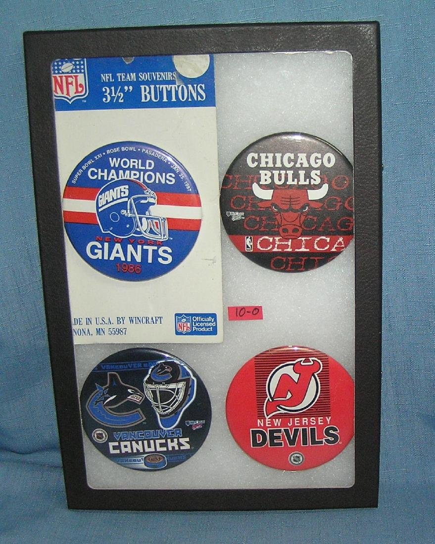 Group of vintage sports pin back buttons