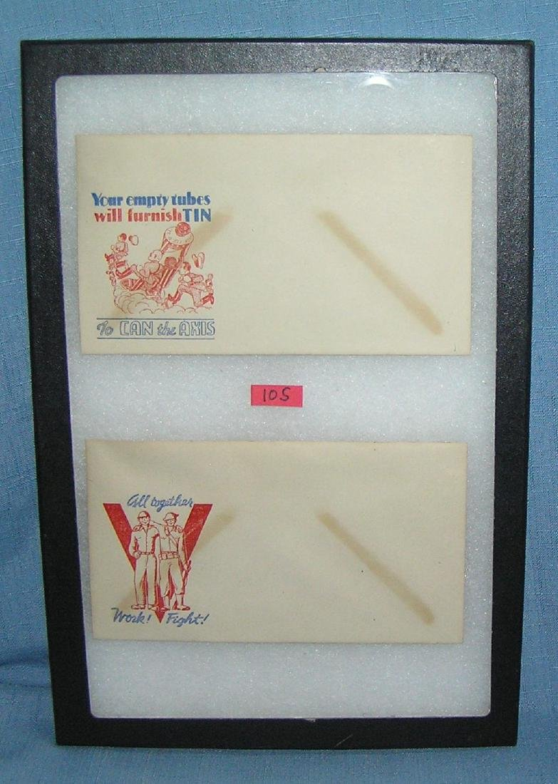 Pair of WWII patriotic victory mail envelopes