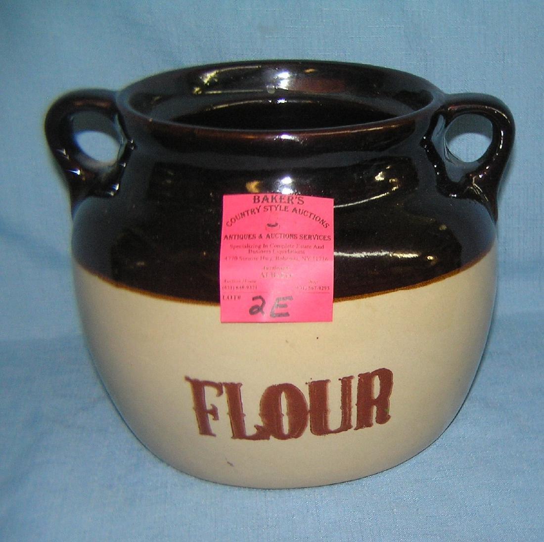Antique stoneware flour crock