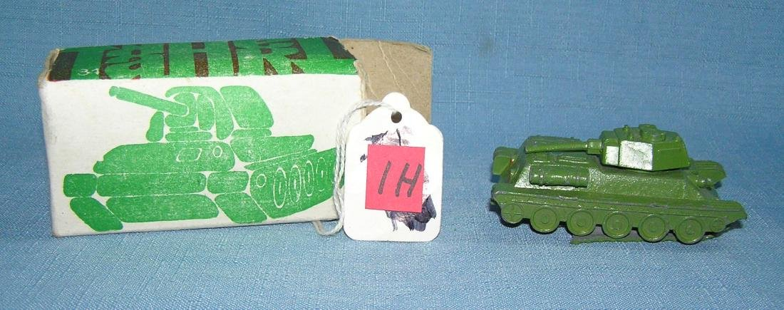 All cast metal 3 1/2 inch toy tank with original box