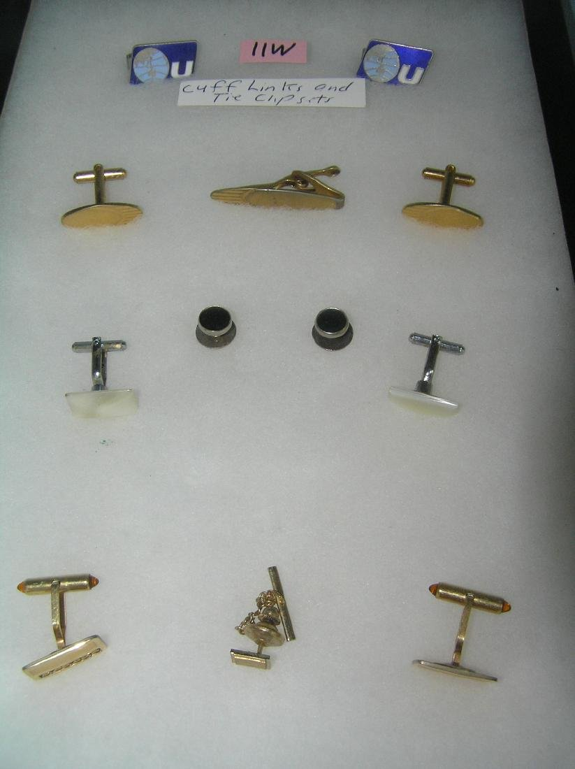 Gentleman's cuff links and tie clip collection