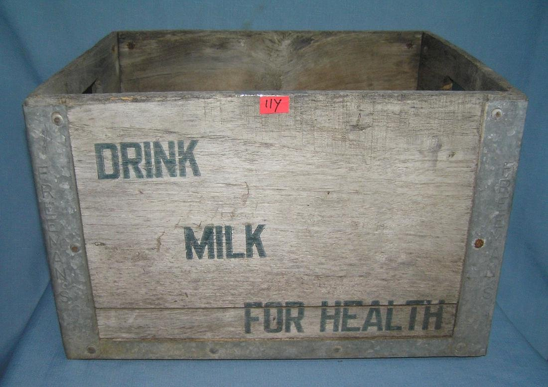 Antique milk crate all wood and metal