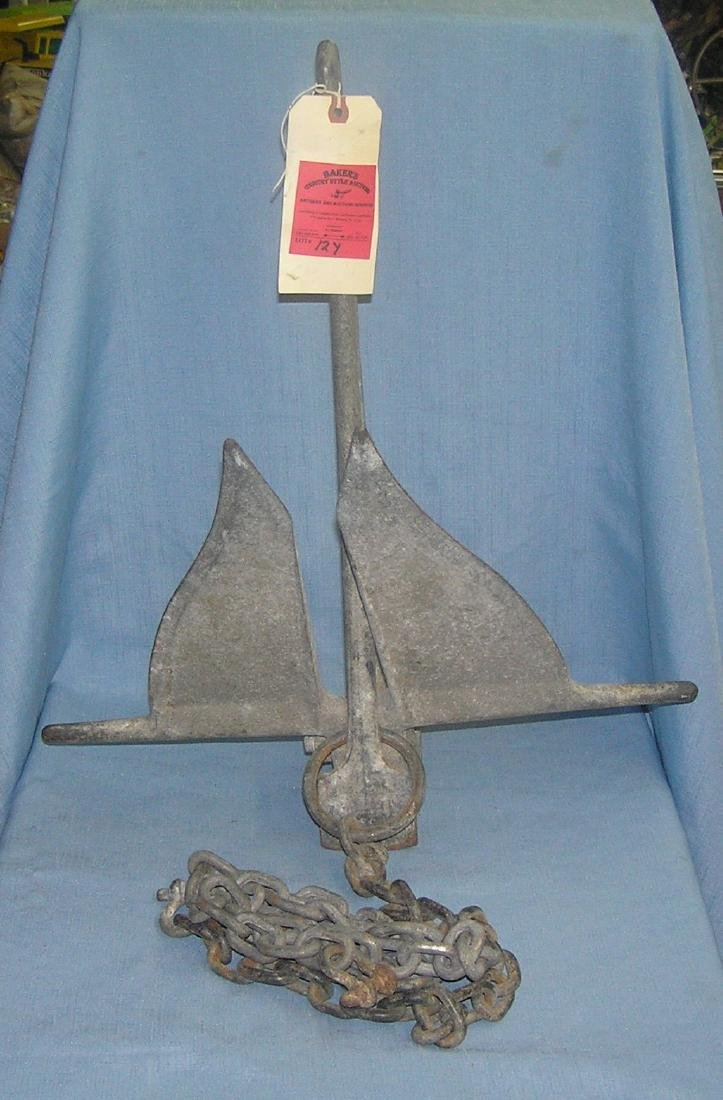 Antique solid steel boat anchor and chain