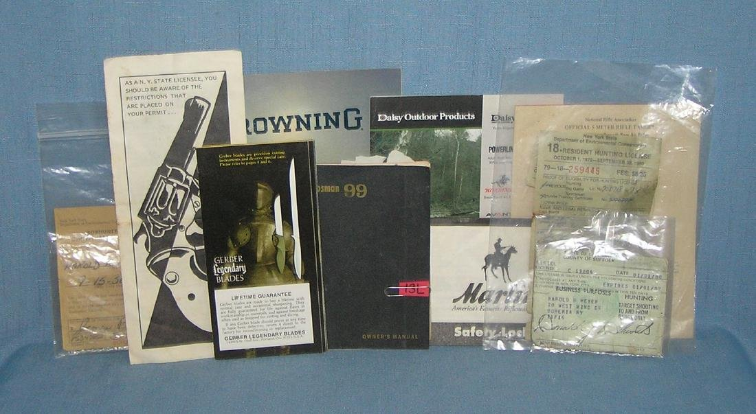 Collection of gun and knife related ephemera and