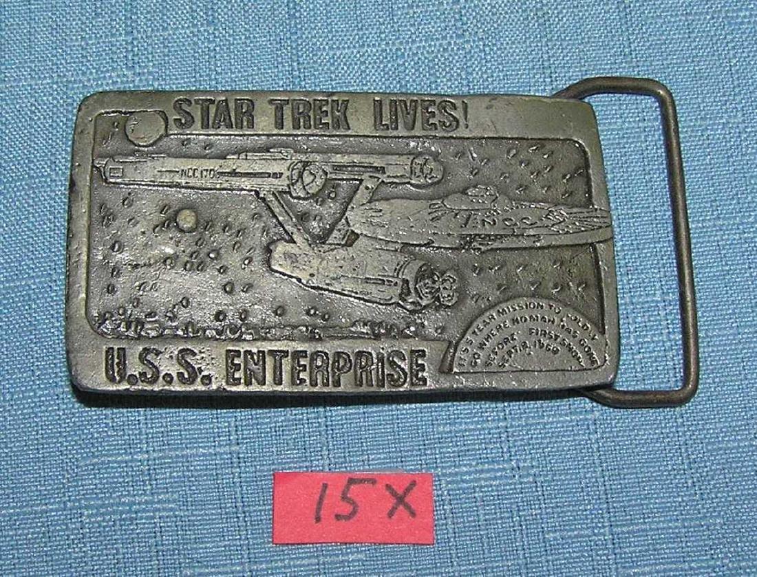 Vintage Star Trek Lives USS Enterprise belt buckle