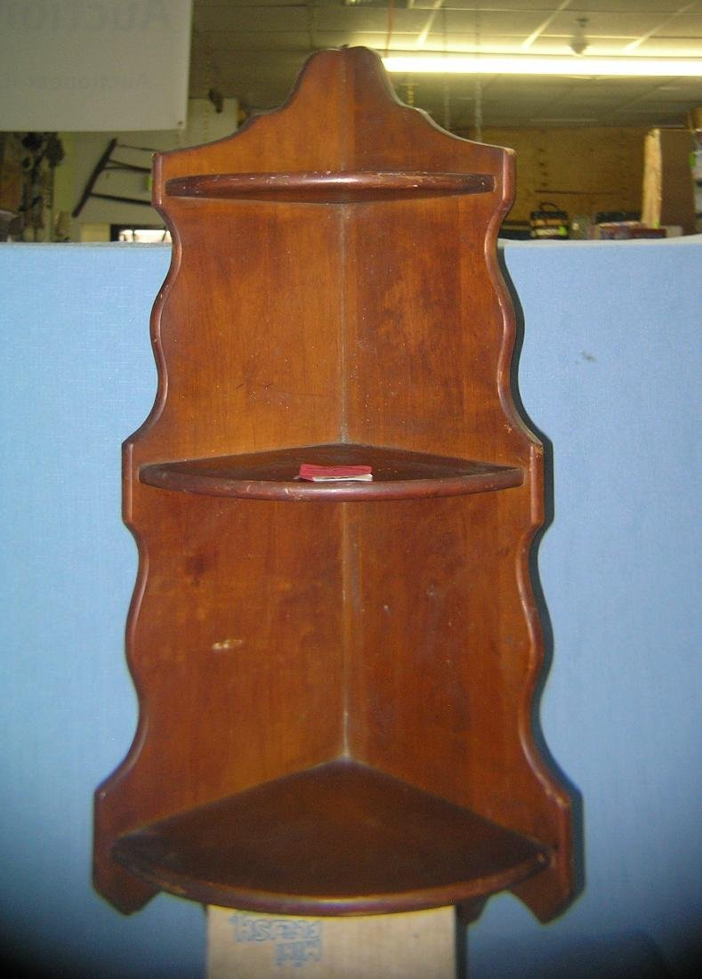 Vintage corner cut pine farmhouse 3 tiered shelf
