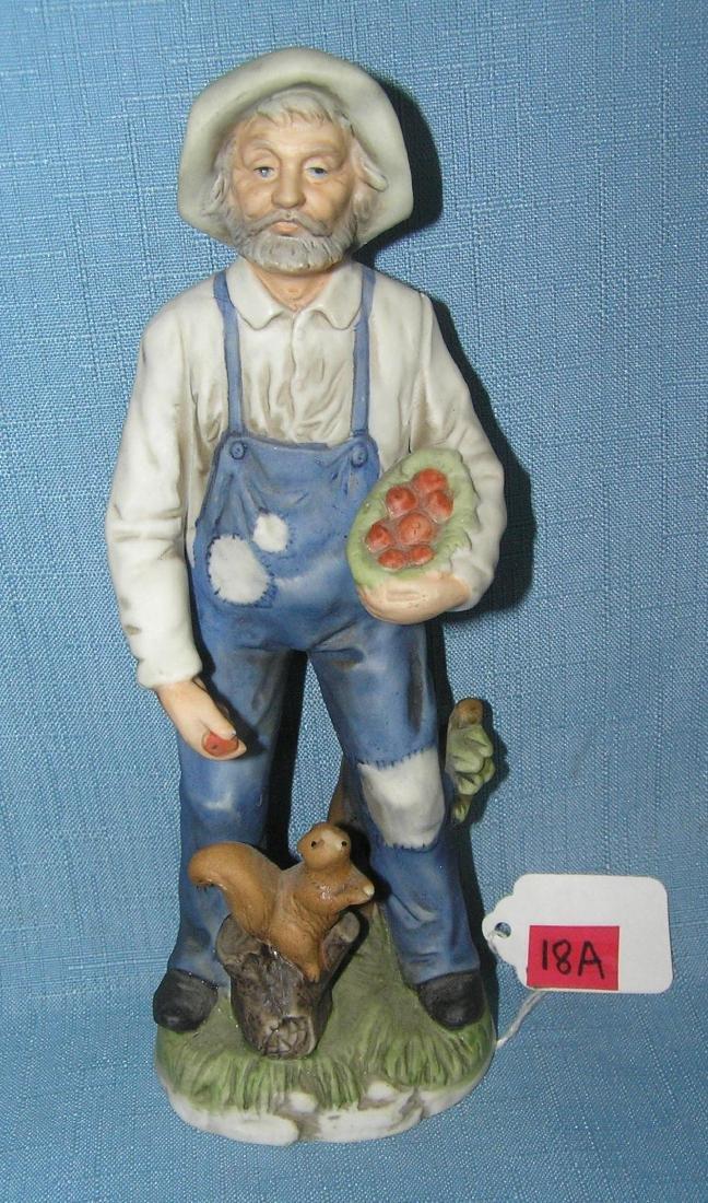 Porcelain farmer feeding squirrel figurine
