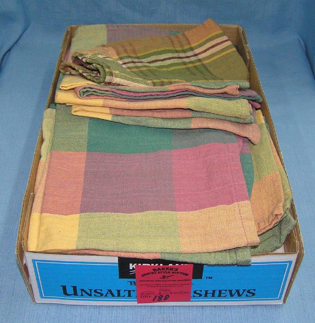 Box full of vintage linens