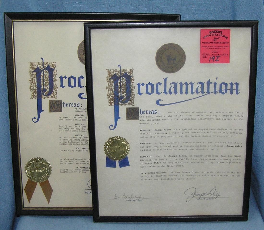 Girl Scouts of America award proclamations