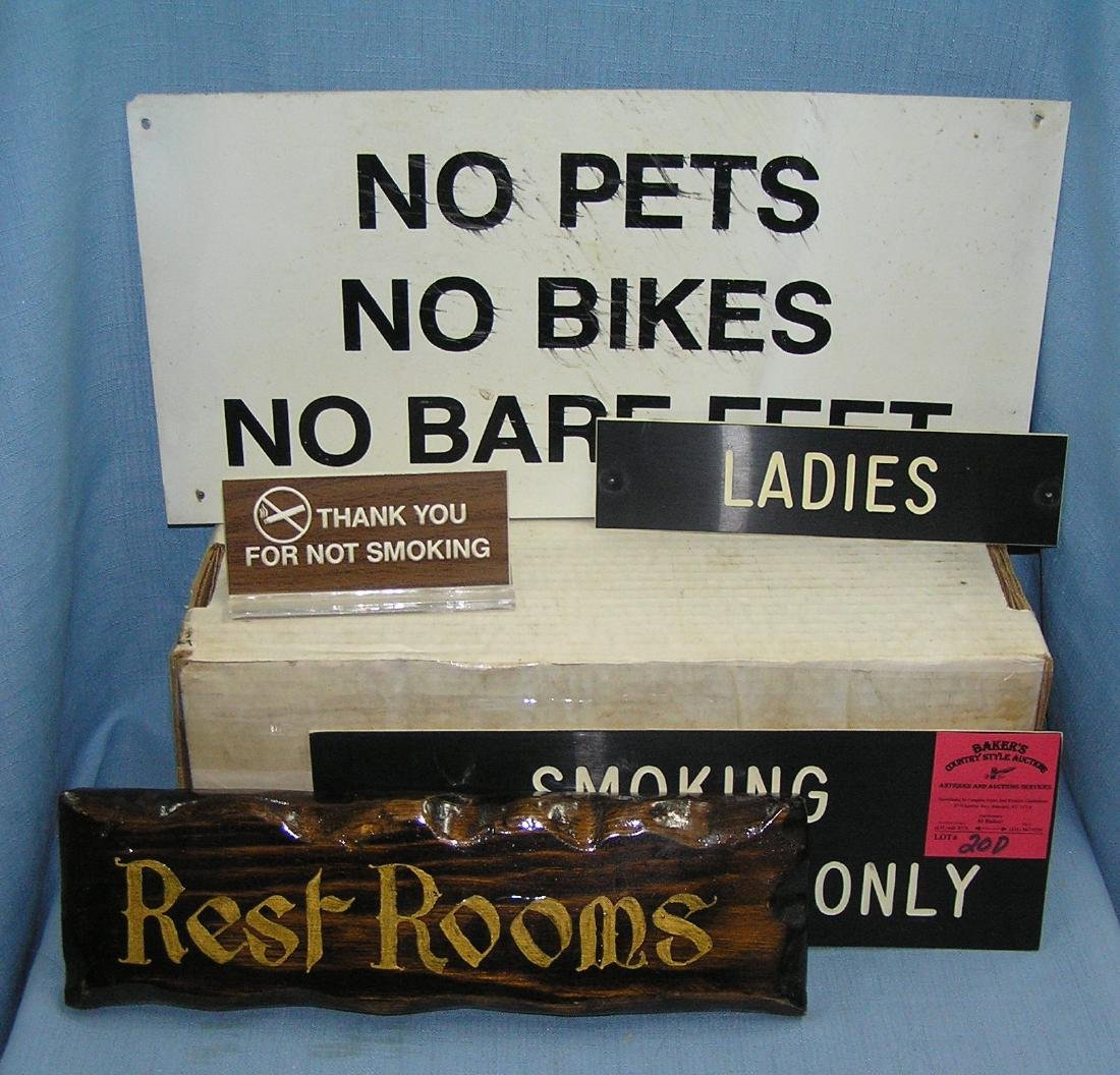 Vintage identification and notification signs