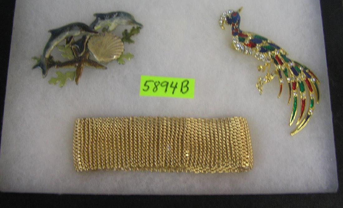 Group of costume jewelry pins and bracelet