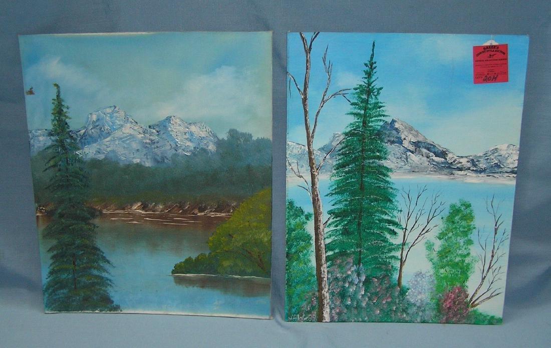 Pair of vintage paintings on board