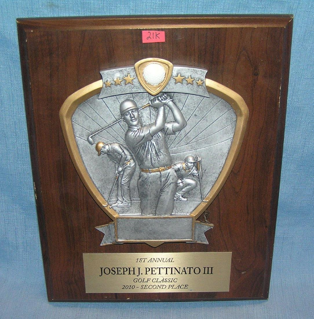 High quality golfing presentation plaque