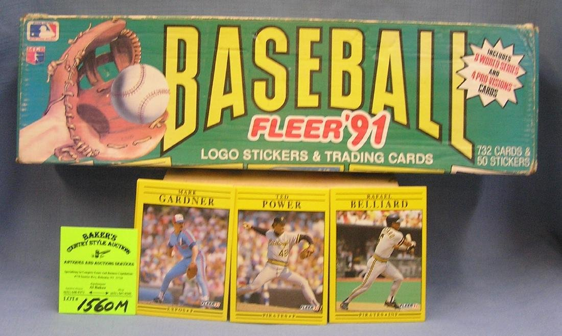 Box full of 1991 Fleer Baseball cards